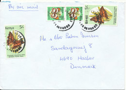Kenya Cover Sent To Denmark 23-9-1992 With More BUTTERFLY Stamps - Kenya (1963-...)