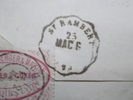 Marcophilie  Cachet Lettre Obliteration - Convoyeur Station St Rambert  - 1870 - (2367) - Postmark Collection (Covers)