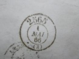 Marcophilie  Cachet Lettre Obliteration - Bureau Passe MOULINS 2565  - 1866 - (2369) - Marcophilie (Lettres)
