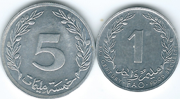 Tunisia - 2000 - 1 Mallim - Food Security - FAO (KM349) & 1997 - 5 Mallimat (KM348) - Tunisia