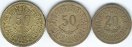 Tunisia - 1960 - 20 Mallimat - 1960 (non Magnetic - KM307.1) & 50 Mallimat (KM308.1) & 2013 (magnetic) KM308.2 - Tunisia
