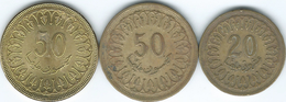 Tunisia - 1960 - 20 Mallimat - 1960 (non Magnetic - KM307.1) & 50 Mallimat (KM308.1) & 2013 (magnetic) KM308.2 - Tunesië