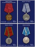 2019-2467-2470 4v Russia State Awards. MILITARY Medals Mi 2684-2687 ** - 1992-.... Fédération
