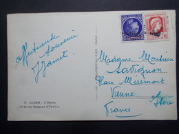 Marcophilie  Cachet Lettre Obliteration - Timbres - Algerie Sur CPA Alger (2383) - Algérie (1924-1962)