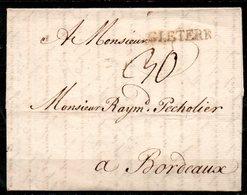MP33-10 : D'Angleterre 1763 Pour Bordeaux Dept 33 (Gironde) Taxe Manuscrite 30 - Marcophilie (Lettres)