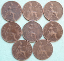 Grande Bretagne - Royaume Uni - One Penny Regina VICTORIA  1896 - 1897 - 1898 - 1899 - 1900 - 1901 Lot 8 Pièces Monnaies - D. 1 Penny