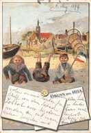 GRUSS Aus HELA-CHILDREN ON BEACH-ARTIST DRAWN  1899 POSTMARK POSTCARD 40396 - Danzig