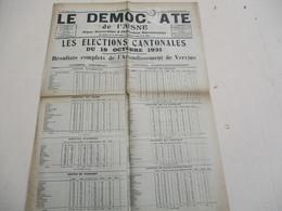 LE DEMOCRATE DE L'AISNE VERVINS 21 OCTOBRE 1931 RESULTATS CANTONALES DU 18 OCTOBRE,OBSEQUES DE MONSIEUR COUESNON - Zeitungen