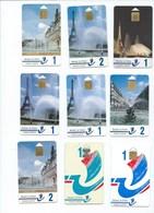 9 X PARIS Mairie De Paris Cartes Paiements Plastiques Pour Parcmétres Tour Eiffel Etc...TB Usagées! Didactique 2 Scans - Télécartes