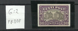 ESTLAND Estonia 1924 Michel 55 G: 2 Official ESSAY PROOF Probedruck Signed K. Kokk MNH - Estland