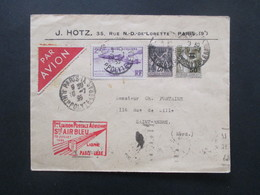 Frankreich 1935 Flugpost / Erstflug Air Bleu Ligne Paris - Lille Mit Vignette S.I.N.T.P. Paris Avion Nr. 294 Postale Aer - 1927-1959 Briefe & Dokumente