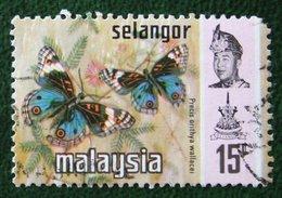 15c Selangor Butterflies Vinder Schmetterling Papillon 1971 Mi 110 YT 98 Used Gebruikt Oblitere MALAISIE MALAYA MALAYSIA - Malaysia (1964-...)