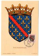 HERALDIQUE = 03 MOULINS 1954 = CARTE MAXIMUM  Illustrée D' ARMOIRIES + N° Yvt 1002 BOURBONNAIS - Cartes-Maximum