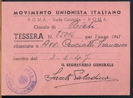 °°° TESSERA MOVIMENTO UNIONISTA 1947 °°° - Partiti Politici & Elezioni