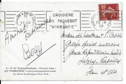"""CPA S/S Normandie Oblitération De New York à Rio De Janeiro """" Croisière Du Paquebot Normandie """" 1938 - Postmark Collection (Covers)"""