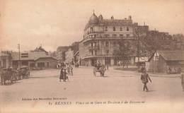 35 Rennes Place De La Gare Et Boulevard De Beaumont Cpa Carte Animée - Rennes