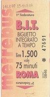ROMA  / Biglietto Integrato A Tempo - Europa