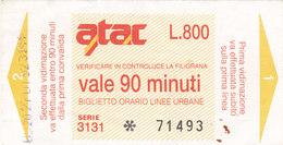 ROMA  / A.T.A.C. Biglietto Da Lire 800 - Railway