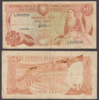 Cyprus 50 Cents 1988 (VG-F) Condition Pre-Euro Banknote P-52 - Cyprus