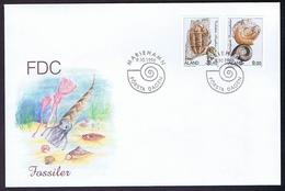 Aland; 1996;  Fossils.  Set Of 2 On FDC - Aland