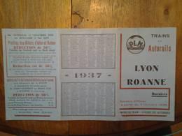 Horaires Trains Et Autorails PLM Lyon Roanne Année 1936 - Europa