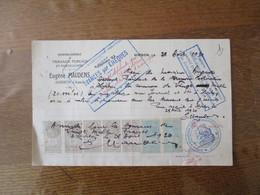 HIRSON AISNE EUGENE MAUDENS TRAVAUX PUBLICS ET PARTICULIERS RECU DU 28 AOUT 1920 7 TIMBRES QUITTANCES - Frankreich