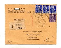 Lettre Recommandee Marseille Ferreol Sur Gandon - Marcophilie (Lettres)