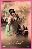 Fantaisie - 1er Avril - Poisson - Femme Avec Panier De Poissons - Fleurs - POLO - 1912 - 1er Avril - Poisson D'avril