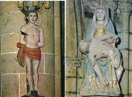 Lot De 2 Cartes ( Format 15 X 10,5 Cm )  De Kernascleden  Statue En Bois - Autres Communes