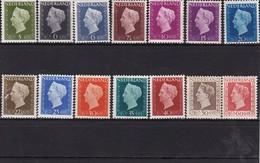 Nederland/Pays-Bas Niederlande 1947 WILHELMINA NVPH 474 - 489. MH *ex 479 En 487 - Unused Stamps