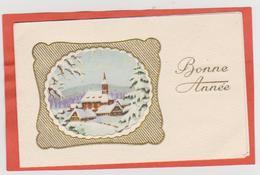 866 - MIGNONETTE BONNE ANNEE A SYSTEME . MAISONS EGLISE DANS PAYSAGE ENNEIGE - Anno Nuovo