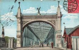 Allemagne Khel Rheinbrucke Pont Sur Le Rhin Cpa Carte Animée Frontiere Cachet 1922 + Timbre Deutches Reich - Kehl