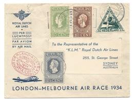 Nederland Luchtpostbrief London-Melbourne Met Jubileumzegels 1913 - Period 1891-1948 (Wilhelmina)