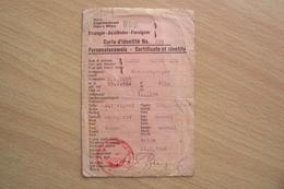 TESSERA DOCUMENTO IDENTITà PASSAPORTO IDENTITY CARD FOR FOREIGNERS PERSONALAUSWEISS 1946 - Documenti Storici