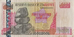 Zimbabwe / 500 Dollars / 2001 / P-10(a) / VF - Zimbabwe