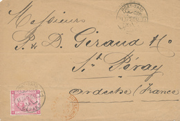 966/28 - Lettre TP Egypte PORT SAID 1880 Vers ST PERAY Ardèche - TRES RARE Entrée EGYPTE MOD. à  Mars. Paris - Marques D'entrées