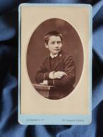 Photo CDV  Hermann à Paris  Portrait écolier En Uniforme  CA 1885 - L436G - Foto's