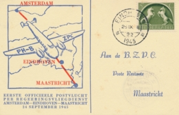 Nederland - 1945 - Noodstempels Eindhoven/22 En Maastricht/8 Op Eerste Vlucht Eindhoven - Maastricht - Luchtpost