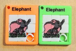 Taquin - Pousse Pousse -  Mini - Lot De 2 - Elephant Tour Orange Et Vert - Brain Teasers, Brain Games