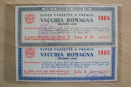 CONCORSO A PREMI VECCHIA ROMAGNA ETICHETTA NERA BRANDY SUPER CASSETTE PREMIO 1964 E 1965 - Alcolici