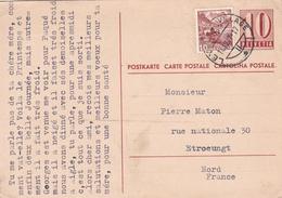 Switzerland 1947 Leysin To Etroeungt France 10c+10c Prepaid Postcard - Schweiz