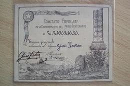 TESSERA FERROVIARIA PER REDUCI PATRIE BATTAGLIE COMITATO POPOLARE 1 CENTENARIO GIUSEPPE GARIBALDI ROMA - Vecchi Documenti