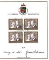 FUERSTENTUM - LIECHTENSTEIN - Bloc 1974 - FRANZ-JOSEF II UND GINA 1974 Oblitération Du 1er Jour 05.09.1974 - 4 X 10.00 - Blocs & Feuillets