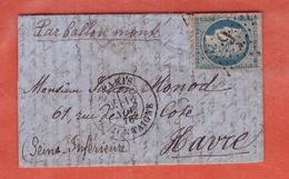 FRANCE BALLON MONTE LE GENERAL UHRICH DU 16/11/1870 POUR LE HAVRE - Poste Aérienne
