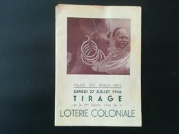 LOTERIE COLONIALE VIEUX PAPIERS PETIT PROGRAMME SOIRÉE DU TIRAGE DE 9e TRANCHE ANNÉE 1946 BELGIQUE CONGO BELGE - Oggetti 'Ricordo Di'