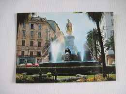 CPSM 20 CORSE DU SUD - 2A - AJACCIO - Place Foch Et Fontaine Aux 4 Lions - Statue Bonaparte 1981   TBE - Ajaccio
