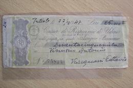 VECCHIO ASSEGNO BANCARIO DELLA BANCA CASSA DI RISPARMIO DI UDINE 1947 - Assegni & Assegni Di Viaggio