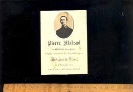 Faire Part Décès Portrait PIERRE MAKSUD De Bonneval Militaire Soldat 101 Régiment Infanterie Mort Pour La France 1916 - Obituary Notices