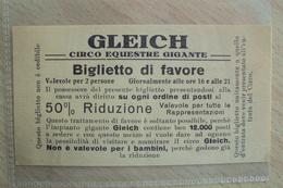 BIGLIETTO DEL CIRCO EQUESTRE GIGANTE GLEICH - Biglietti D'ingresso