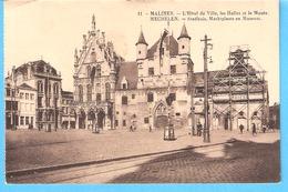 Mechelen- Malines-1927-Stadhuis-Marktplaats-Museum-Hôtel De Ville-Les Halles Et Le Musée - Malines